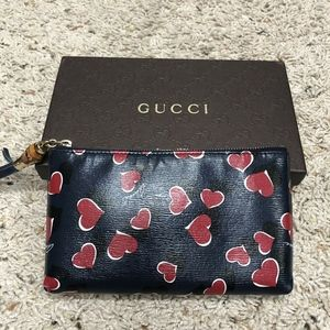 Authentic Gucci Heart Bamboo Zip Top Pouch